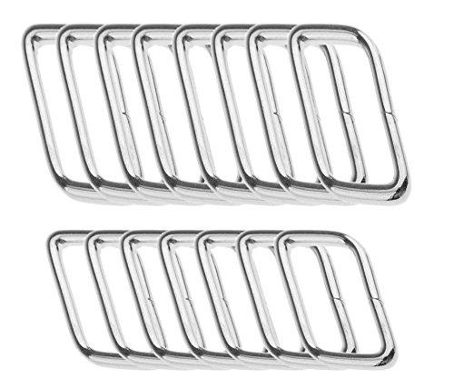 40 Stück Metall Quadrat Ringe Dee Schnallen BlueXP 20mm35mm Breite Rechteck Metall Ring für Tasche oder Geldbörse Griffe Gurtband Teller Silber