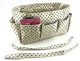 Periea - Organiseur de sac à main - Tilly (Marron crème à pois marrons)