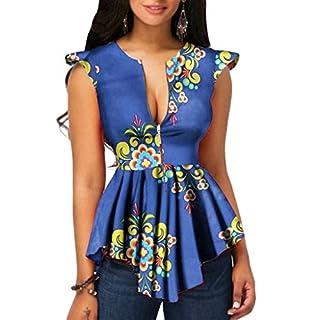 BaZhaHei Women's Summer African Printed Zipper Front Cap Sleeves Peplum Top Blouse V Neck Tunic T-Shirt Tank Tops Irregular Hem Tee Shirts Blue