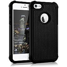 kwmobile Funda híbrida para > Apple iPhone SE / 5 / 5S < en negro. Interior de gel TPU, ¡estructura rígida! Ideal para uso al aire libre y ultramoderna