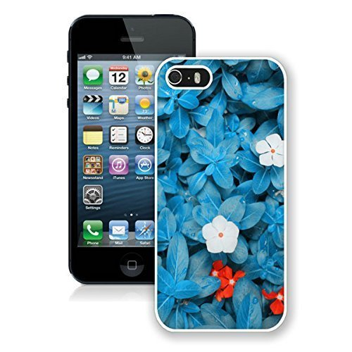 FAGUO Beautiful Blue Flower iPhone 5 5S Case White Cover Cute cell phone cases With High Grade Design L-NE CASE