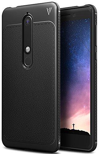 Nokia 6 2018 Hülle, iBetter Slim Weiches Stoßsicheres Gehäuse mit Spezial-Hexagon Texture Schutzhülle Soft Hüllen Handyhülle für Nokia 6 Dual SIM Smartphone VERSION 2018(Schwarz)
