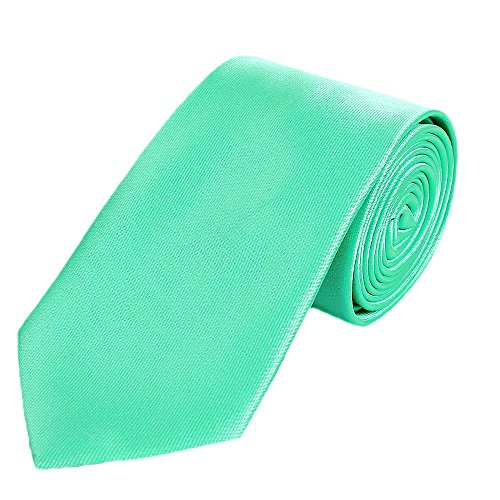 DonDon Cravatta uomo 7 cm classica fatta a mano per il lavoro o occasioni speciali verde menta