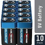 ANSMANN 9V Block Batterien 10 Stück - Alkaline 9 Volt Blockbatterie ideal für Bewegungsmelder, Messgerät, Spielzeug, Fernbedienung, Fernsteuerung, Detektoren - umweltschonende Verpackung
