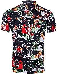ad39ded6df Camisa de Manga Corta de Playa con Flores de Navidad para Hombre Camisa con Estampado  Hawaiana