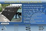 RV Awning Shade Kit Black Motorhome Awning Screen Trailer Kit 7x16