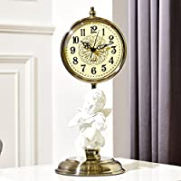 Asnvvbhz Angel Clock Ornaments, European Creative Clock Living Room Pendulum Clock, Decorative Bedroom Mute Clock Crafts Retro Table Clock Decoration (16 * 40cm)