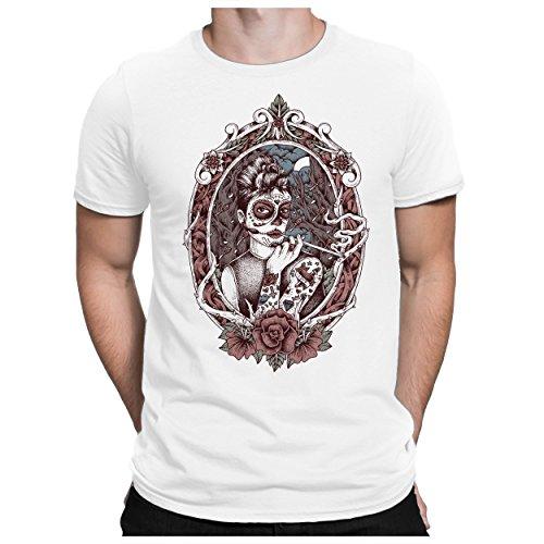 - Herren Fun T-Shirt Bedruckt Santa Muerte Mexiko - M - Weiß ()
