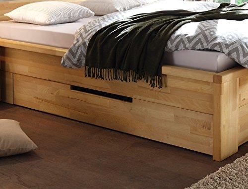 Massivholzbett Caspar + Nachttisch Kernbuche geölt Stauraumbett Holzbett Bett Nachtkonsole Nako Schlafzimmer, Liegefläche:140 x 200 cm;Set-Inhalt:Bett - 6