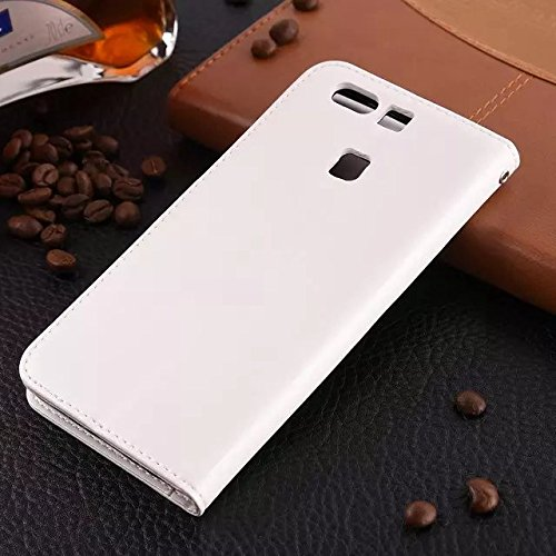 Wkae Case Cover Huawei P9 Fall feste Folio magnetische Design Flip Brieftasche Stil Fall Farbmuster PU-Leder-Abdeckung Standup-Abdeckungsfall für Huawei P9 ( Color : Brown , Size : Huawei P9 ) White