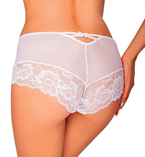 Ewana Damen Slip Hipster Shorts Maxislip Unterhose aus feiner Spitze und Mikrofaser mit Push Up Effekt Weiß Weiß