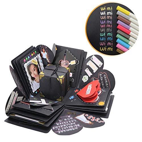 WIMI Explosion Box Mit Zubehör Scrapbook DIY Foto Album für Geburtstag Jahrestag Valentine Hochzeit Geschenk (Schwarz - 10 * Graffiti-Stift) -