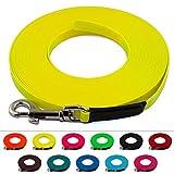 Extra leichte Schleppleine aus 9 mm Super Flex BioThane® / 1-30 Meter [1 m] / 9 Farben [Neon-Gelb] / genäht / ohne Handschlaufe
