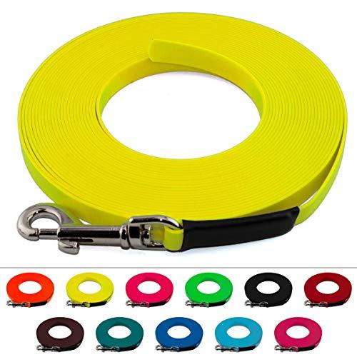 LENNIE Leichte BioThane Schleppleine, 9mm, Hunde 5-15kg, 1m lang, ohne Handschlaufe, Neon-Gelb, genäht