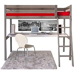 Weber Industries 325344 Aspen Lit Mezzanine + Bureau avec Sommier Gris 199 x 99 x 170 cm