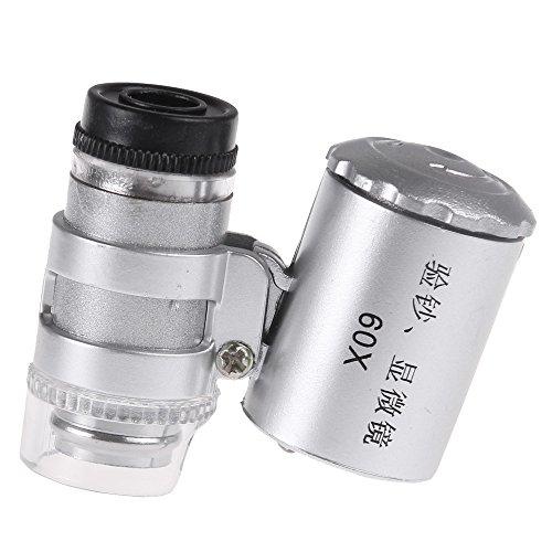 OurLeeme Mini microscopio 60X LED lente di ingrandimento dei monili UV rivelatore di valuta portatile lente d\'ingrandimento lente oculare con la luce del LED