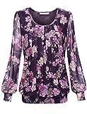 BaiShengGT Damen Langarmshirt Rundhals Falten Shirt Stretch Tunika Lila-Rose S