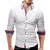 Camisa Hombre, Manadlian Camisas de cuadros de hombres Camisetas de manga larga Negocio Slim Fit (XL, Blanco)