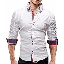 2be8aa6ab686c Amazon.es  Manadlian Hombres Camisa de hombre - Blanco