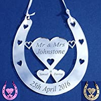 Wedding Horseshoe Bridal Gift Mr & Mrs Mini Good Luck Horseshoe Personalised ANY NAMES or Same Sex (Size: 100mm x 95mm) - Little Shop of Wishes