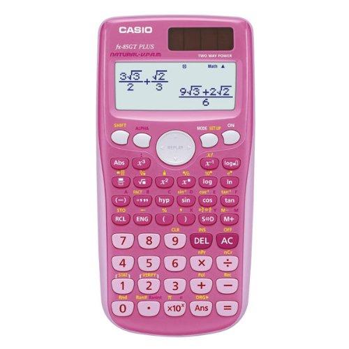 Casio fx-85gt plus-calcolatrice scientifica twin powered, colore: rosa