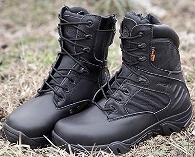 Hombres Emerson deportes al aire libre senderismo trabajo combate lobulado transpirable alta cremallera lateral desierto zapatos de cuero superior botas negro BK