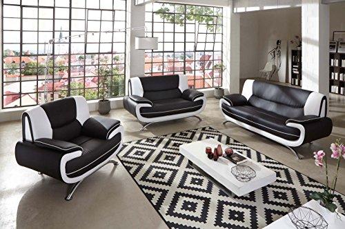 SAM Stilvolle Sofa Garnitur Passero Combi 3 - 2 - 1 schwarz / weiß Wohnlandschaft mit Dreisitzer, Zweisitzer und Sessel pflegeleichte Oberfläche bequeme...