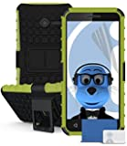 iTALKonline Vodafone Smart First 6 Green Black Tough Hard Shock Proof Rugged Heavy Duty Case Cover with Viewing Stand and LCD Screen Protector Guard
