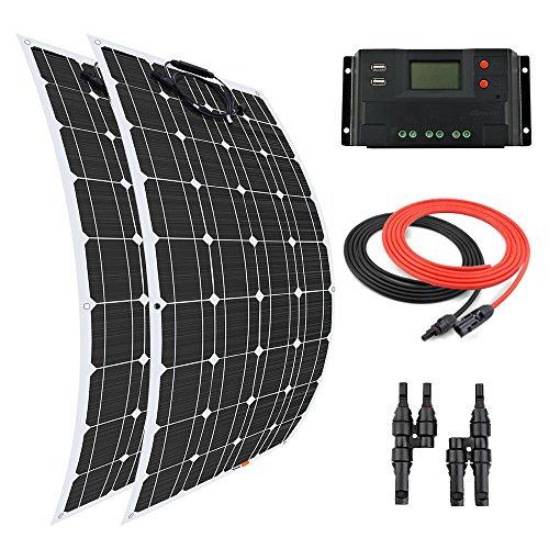 Este kit solar Giosolar de 200 W incluye: - 2 PC de alta eficiencia 100W flexible panel solar monocristalino con 90 mm de cable solar especial y conectores impermeables Controlador de carga de pantalla LCD PWM 20A 12V/24V. Cable de 5 m rojo y negro (...