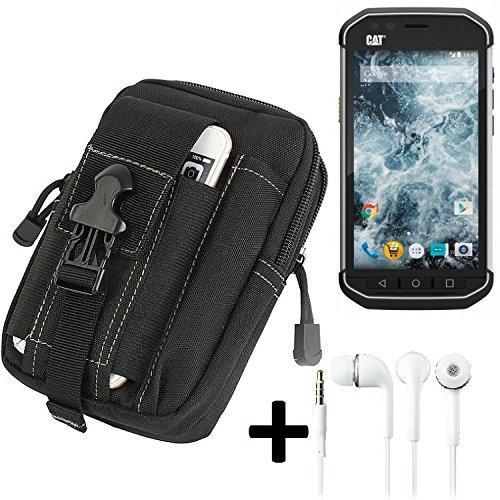 K-S-Trade Gürteltache für Caterpillar Cat S40 Gürtel Tasche Schutzhülle Handy Schutz Hülle Smartphone Tasche Outdoor Handyhülle schwarz inkl. Extrafächer + Kopfhörer