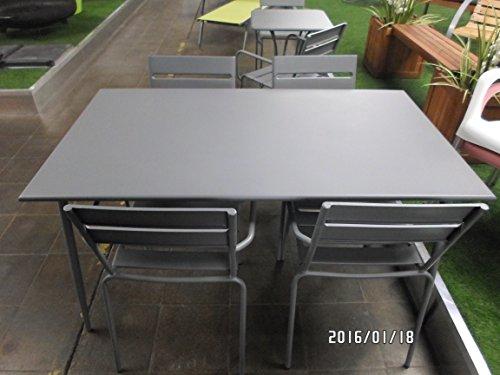 Tisch Gartentisch zeitloses Design Da Vinci 140x80x73 cm Metall taupe/grau/rot (blaubeere/grau)