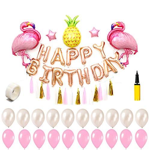 Kungfu Mall Flamingo Luftballons Geburtstagsparty Dekoration Konfetti Luftballons Set mit luftgefüllten Aluminium Luftballons - 41 pcs (Dekoration Eine Für Geburtstagsparty)