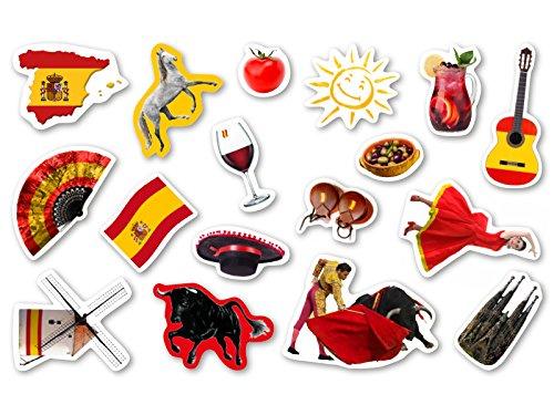 Preisvergleich Produktbild XXL-Großkonfetti * SPANIEN * mit 51 großen Konfetti-Teilen für eine Motto-Party oder Länder-Party // Party Kinder Kindergeburtstag Konfetti Deko Motto Spain Stierkampf Rotwein Flagge