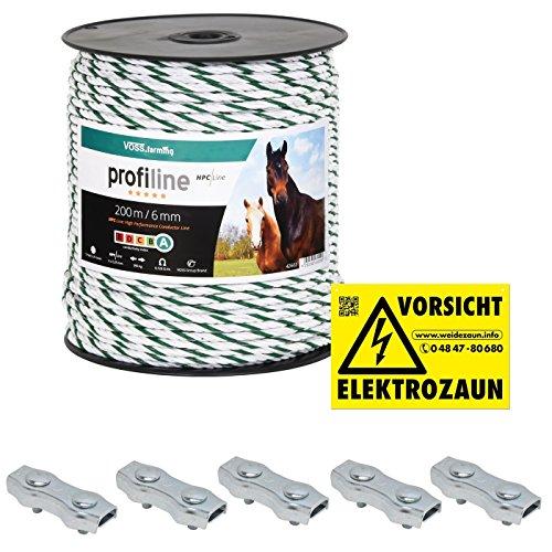 *6mm Weidezaunseil –Länge wählbar – Elektrozaunseil 6x 0,25 HPC-Leiter – mit Zubehör! – weiß-grünes Elektroseil von VOSS.farming für Pferdezaun Weidezaun Elektrozaun Ponyzaun*