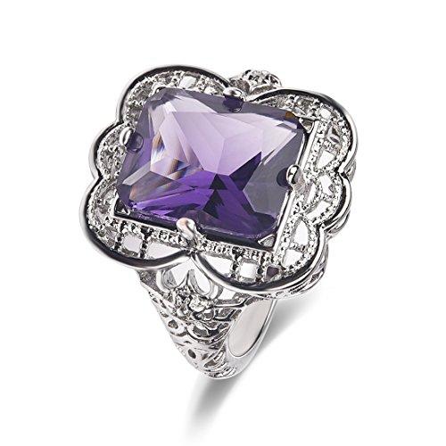 Versilbert Lila Amethyst Cz Einzigartigen Design Versprechen Ring Ehering Größe 10 Größe 10 Ring-amethyst