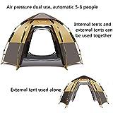 DGDD Automatische Pop-Up Hex Zelt 5-8 Personen Camping Zelt Doppelschicht wasserdicht für Familie Outdoor Camping Wandern Reise Strand mit Tragetasche,Brown