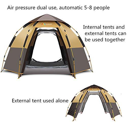 DGDD Automatische Pop-Up Hex Zelt 5-8 Personen Camping Zelt Doppelschicht wasserdicht für Familie Outdoor Camping Wandern Reise Strand mit Tragetasche,Brown (Instant Zelte)