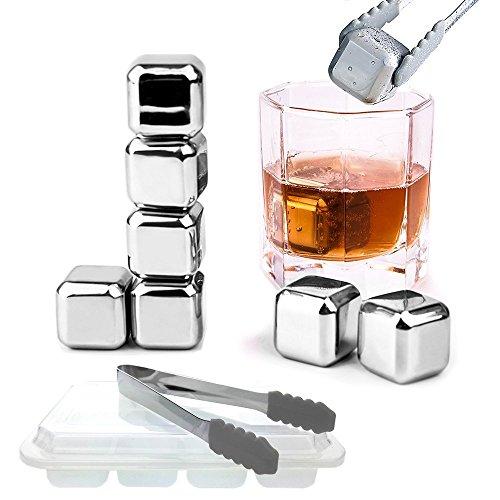 Splink Edelstahl Whiskysteine Eiswürfel Kühlsteine (Set 8 Sück ) mit 1 Eiszange, wiederverwendbare Whisky Stones für Whiskey, Wein, Getränken FDA BPA Zertifikate