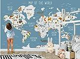 LONGYUCHEN Benutzerdefinierte 3D Silk Wandbild Tapete Tier Weltkarte Kinderzimmer Kindergarten Spiel Zimmer Dekoration Wandbild,80Cm(H)×150Cm(W)