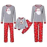 Weihnachten Schlafanzug Familien Outfit Mutter Vater Kind Baby Pajama Langarm Nachtwäsche Print Sleepwear Casual Xmas Santa Rundkrage T-Shirt Oberteile Top Hose Set von Innerternet