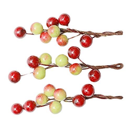 non-brand MagiDeal 3 Pièces Pinces à Cheveux Forme de Fruits Baie Barrettes à Cheveux pour Fille Femmes Accessoires de Coiffure - Vin Rouge et Vert