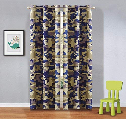 Fancy Collection Kids/Teen Armee Camouflage Beige Taupe Blau Tröster Set New, Curtain - Blau Camouflage Tröster