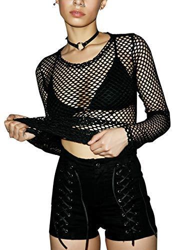 Carolilly Damen Netzoberteil Transparent Tüll Mesh Bluse Langarm Top Party Clubwear (S, Schwarz)