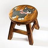 Robuster Kinderhocker/Kinderstuhl massiv aus Holz mit Tiermotiv Katze, 25 cm Sitzhöhe
