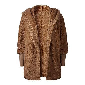 Winter Kapuzenjacke Strickjacke Damen Elegant Hooded Cardigan Fluffy ... 8ff3f9392c