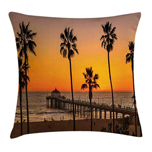 MLNHY Vintage Beach Throw Pillow Cushion Cover, Photo of Palm Trees at Manhattan Beach in Los Angeles Sunset Silhouette Art, Decorative Square Accent Pillow Case, Multicolor,12 X 12 Inches (In Los Halloween-festivals Angeles)