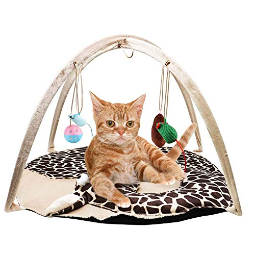 VAMEI Giocattoli di Gatto, Cuccia Gatto per Cani con 4 Giocattoli appesi Campanellini Giocattolo Piega per Gatti Gatti