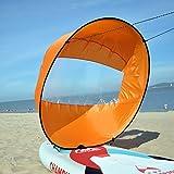ZZM Faltbar Kajak Boot Wind Sail, 106,7cm Wind Paddel Popup Board UV-Schutz mit Transparentem Fenster Angeln Ruderboot aufblasbar Außenborder Driften Kajak Kanu Zubehör Kompakt & Tragbar, Orange