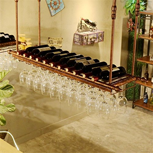 JIA JIA HOME- Decke Weinregale höhenverstellbar Wandhängend Weinflaschenhalter Metall Eisen Weinglas Rack Becher Stemware Racks Vintage Style Kreative Bar Dekoration Display Regal-Bronze, 60/80/100 / 120cm ( größe : L60*W30cm ) (Paletten-weinregal, Wand-montiert)