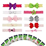 Bundle Monster 10 piece Soft Lace Infant Toddler Baby Bow Grosgrain Ribbon Headband Set